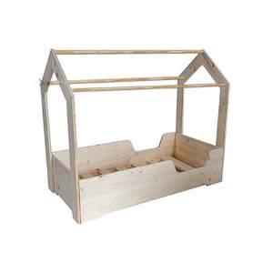 lit cabane montessori avec barrières intégrées en pin massif
