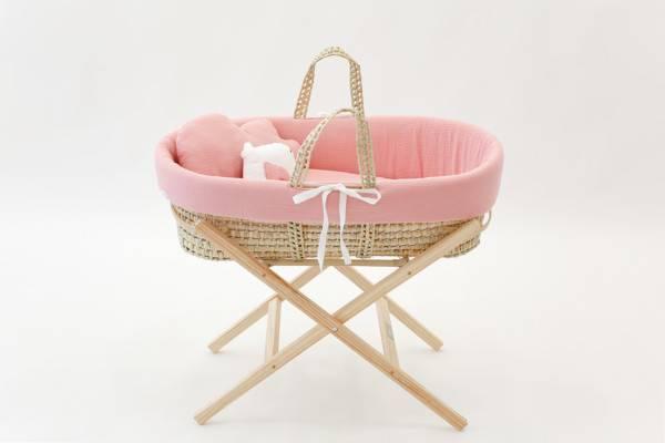 , Couffin bébé  Pink Gasa avec pieds pliables en bois massif Cucos Baby