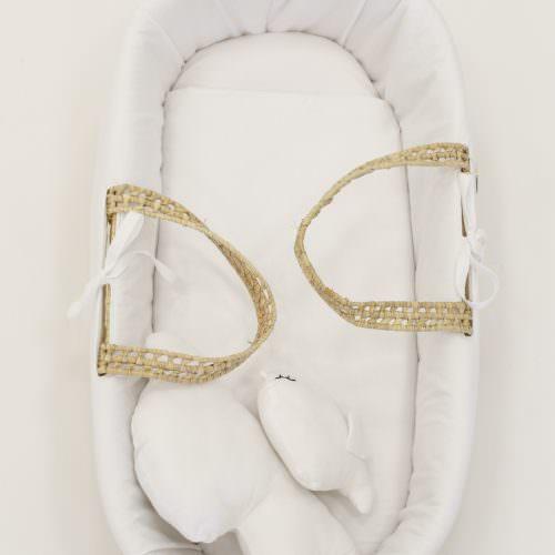 , Couffin Bébé Blanc Avec Pieds Pliables en Bois Massif Cucos Baby