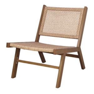 fauteuil lounge finition bois et rotin tressé