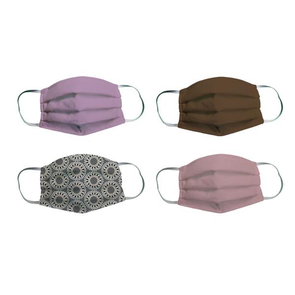 , Masque de protection Adulte/ Junior lavable en éponge – Set de 4 masques Femme/ Fille