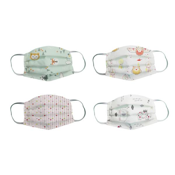 , Masque de protection enfant lavable en éponge – Set de 4 masques Fille 3-6 ans