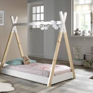 lit tipi montessori blanc et bois naturel