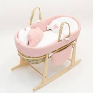 couffin bébé rose et blanc sur pied balancelle