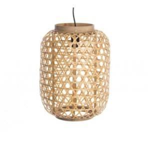 suspension en rotin naturel en forme de lanterne