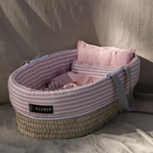 couffin bébé avec habillage en lin lavé rose et blanc