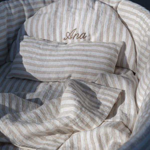 , Couffin bébé Colette de.Lenzo en osier et Lin rayé sable et blanc cassé