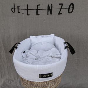 couffin bébé avec habillage en lin blanc