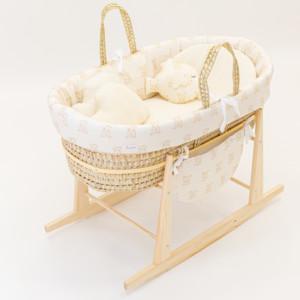 couffin bébé balancelle oursons beiges et coussins inclus