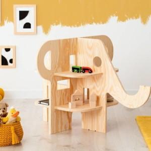 meuble étagère montessori en forme d'éléphant dans chambre d'enfant