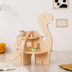 meuble étagère montessori en forme de diplodocus