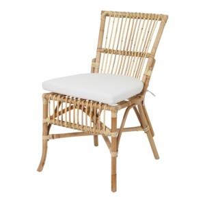 chaise en rotin naturel et coussin d'assise blanc